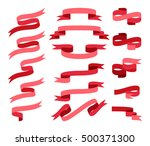 red flat style ribbon vector... | Shutterstock .eps vector #500371300
