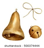 Watercolor Christmas Bell Set....