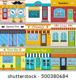 set of different store fronts... | Shutterstock . vector #500380684