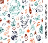 pattern with winter elements.... | Shutterstock .eps vector #500384020