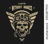 racer skull in helmet  vintage...   Shutterstock . vector #500387953