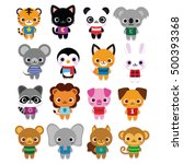 vector set of cute cartoon... | Shutterstock .eps vector #500393368