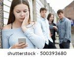 teenage girl victim of bullying ... | Shutterstock . vector #500393680