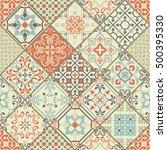 seamless ceramic tile with... | Shutterstock .eps vector #500395330