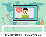 online education  webinar... | Shutterstock .eps vector #500397628