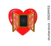 red heart with open wooden... | Shutterstock . vector #50039953