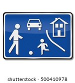 game street and playing children | Shutterstock . vector #500410978