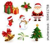 christmas icons set. holiday...