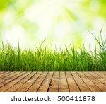 fresh green grass with bokeh... | Shutterstock . vector #500411878