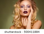 fashion blonde woman with... | Shutterstock . vector #500411884