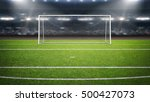 The imaginary soccer stadium and goalpost, 3d rendering