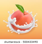 peach and milk splash. fruit... | Shutterstock .eps vector #500433490