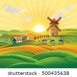 rural landscape with a windmill ... | Shutterstock . vector #500435638