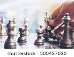 the man play chess game on the... | Shutterstock . vector #500437030