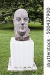 "Small photo of Moscow, Russia -September 09,2016: Sculpture ""Academician Fersman"" in the park Muzeon, granite. Sculptor Ye. Preobrazhenskaya"