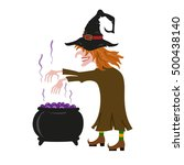witch brews a potion in pot... | Shutterstock . vector #500438140