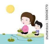 cartoon thailand women in loy... | Shutterstock .eps vector #500438770