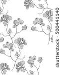 vintage flower line art on... | Shutterstock . vector #500441140