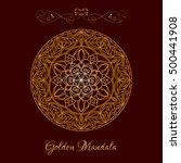 vector gold color mandala over... | Shutterstock .eps vector #500441908