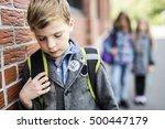 pupils friends teasing a pupil... | Shutterstock . vector #500447179