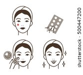 girl take care of her face.... | Shutterstock .eps vector #500447200