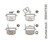 steps how to cook porridge.... | Shutterstock .eps vector #500447530