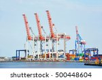 port cargo crane and container... | Shutterstock . vector #500448604