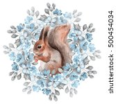 squirrel and blue flowers.... | Shutterstock . vector #500454034
