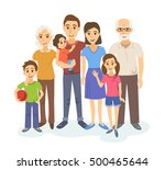 cartoon portrait of big family. ... | Shutterstock .eps vector #500465644