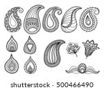 abstract hand drawn paisley... | Shutterstock .eps vector #500466490