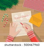 child hand with pen writing... | Shutterstock .eps vector #500467960