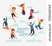 group of young people jumping... | Shutterstock .eps vector #500468569