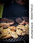 chicken and steak being cooked... | Shutterstock . vector #500474413
