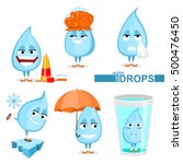 set of water drops. vector... | Shutterstock .eps vector #500476450