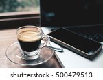 cup of hot espresso coffee on... | Shutterstock . vector #500479513