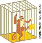 Cartoon Monkey In Cage