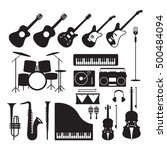 music instruments silhouette... | Shutterstock .eps vector #500484094