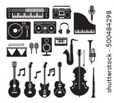 music instruments silhouette... | Shutterstock .eps vector #500484298
