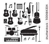 jazz music instruments... | Shutterstock .eps vector #500484304