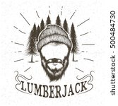 face of lumberjack with beard... | Shutterstock .eps vector #500484730