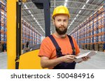 young forklift driver in empty... | Shutterstock . vector #500484916