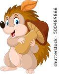 cute baby hedgehog holding... | Shutterstock .eps vector #500489866