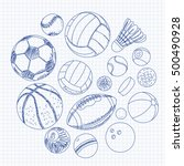 freehand drawing sport balls... | Shutterstock .eps vector #500490928