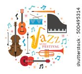 jazz music instruments  objects ... | Shutterstock .eps vector #500495314