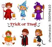 happy halloween. set of cute... | Shutterstock .eps vector #500496610