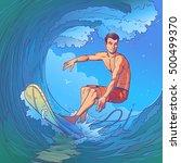 vector illustration of a surfer | Shutterstock .eps vector #500499370