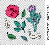 rose tattoo set. sticker  patch ... | Shutterstock .eps vector #500517784
