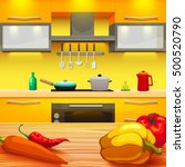 colorful cartoon style kitchen... | Shutterstock .eps vector #500520790