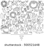 christmas set of hand drawn... | Shutterstock .eps vector #500521648