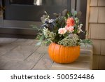 Pumpkin Decorated On Stair Steps